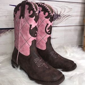 Roper Pink & Brown Horseshoe Horses Cowgirl Boots